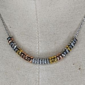 Fossil Crystal Silver, Rose Gold, Gold Necklace
